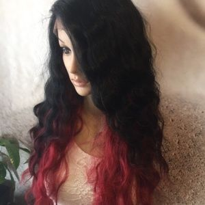 Black and red wavy lace part wig.
